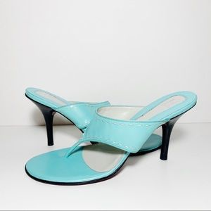 Light Blue Teal Leather Thong Sandals Mules NEW